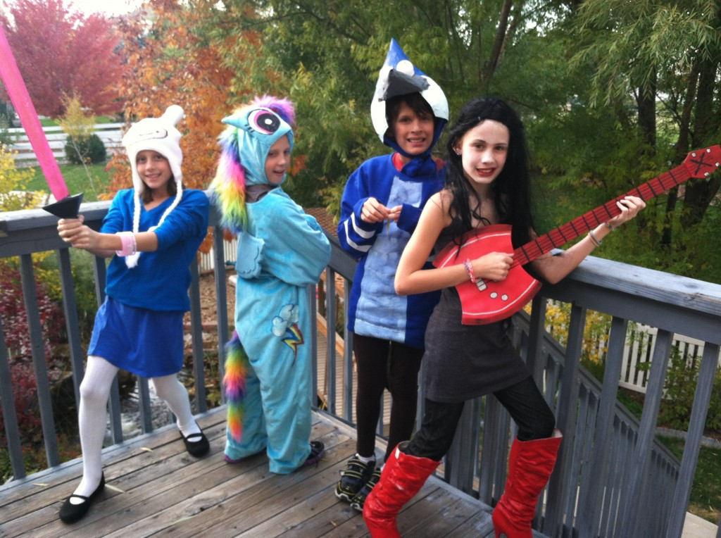 2013 Costumes: Fiona from Adventure Time, Rainbow Dash from My Little Pony, Mordecai from Regular Show, and Marceline the Vampire Queen from Adventure Time!