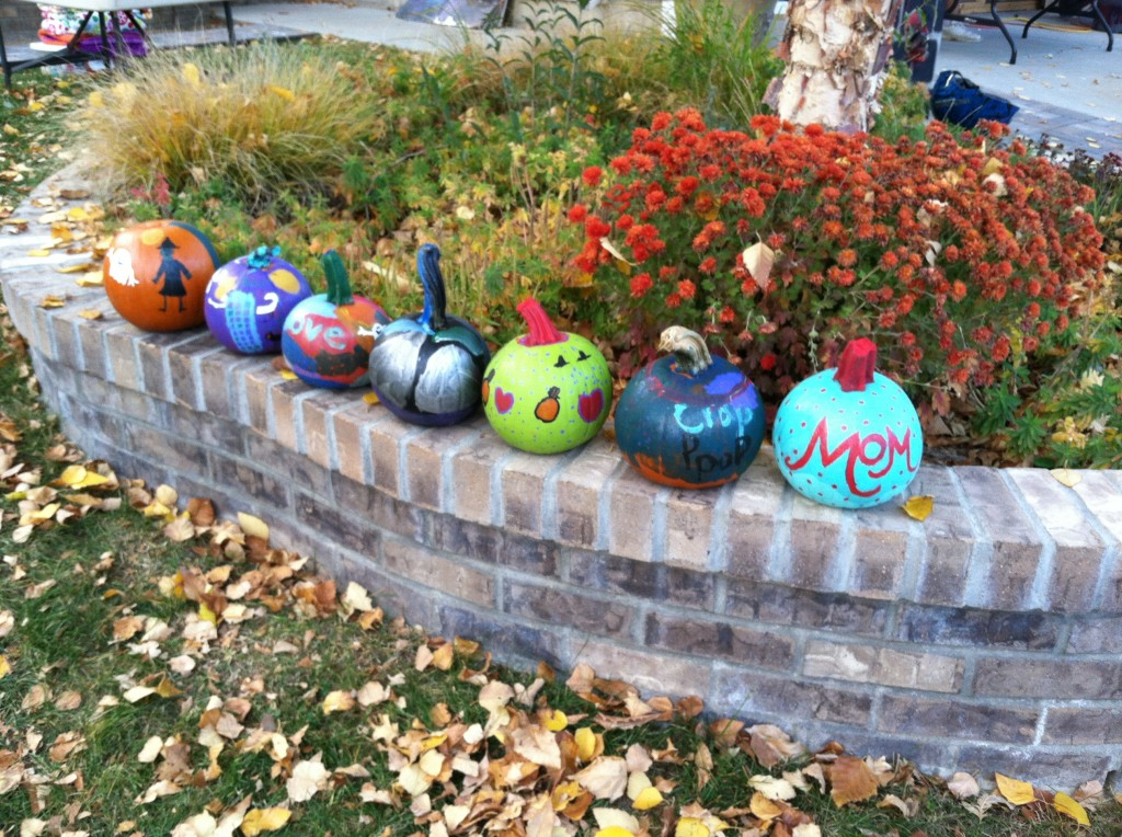Our finished works - painted pumpkins 2013