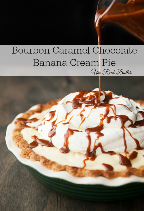 bourbon caramel chocolate banana cream pie