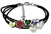 puzzle pieces & hearts charm bracelet