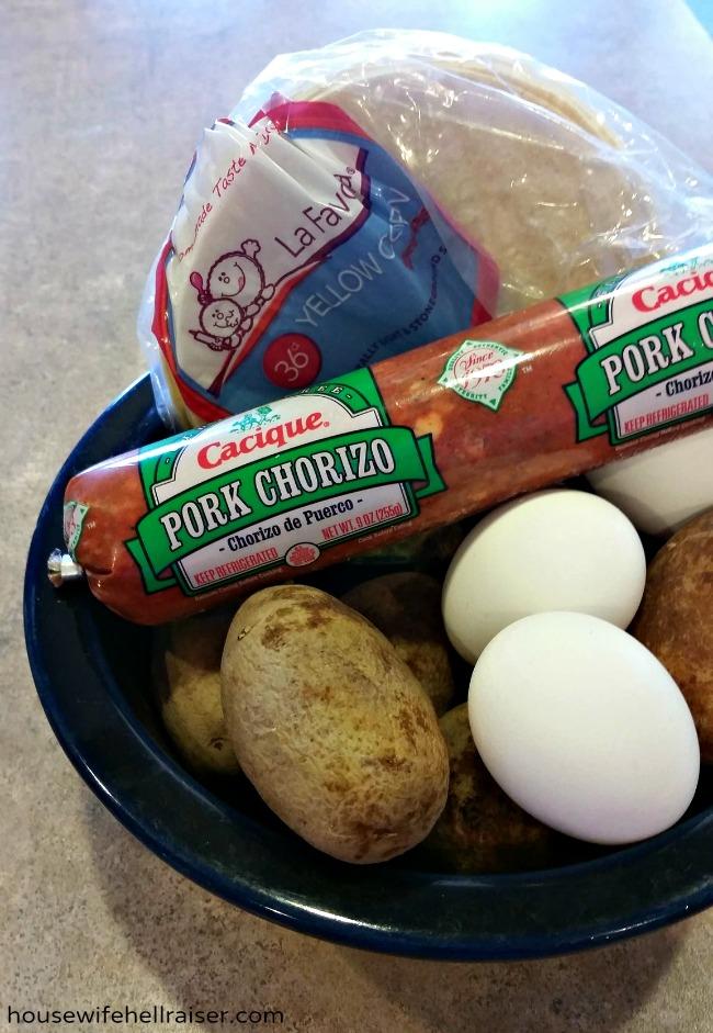 Potato Chorizo Breakfast Tacos - instant hangover cure!