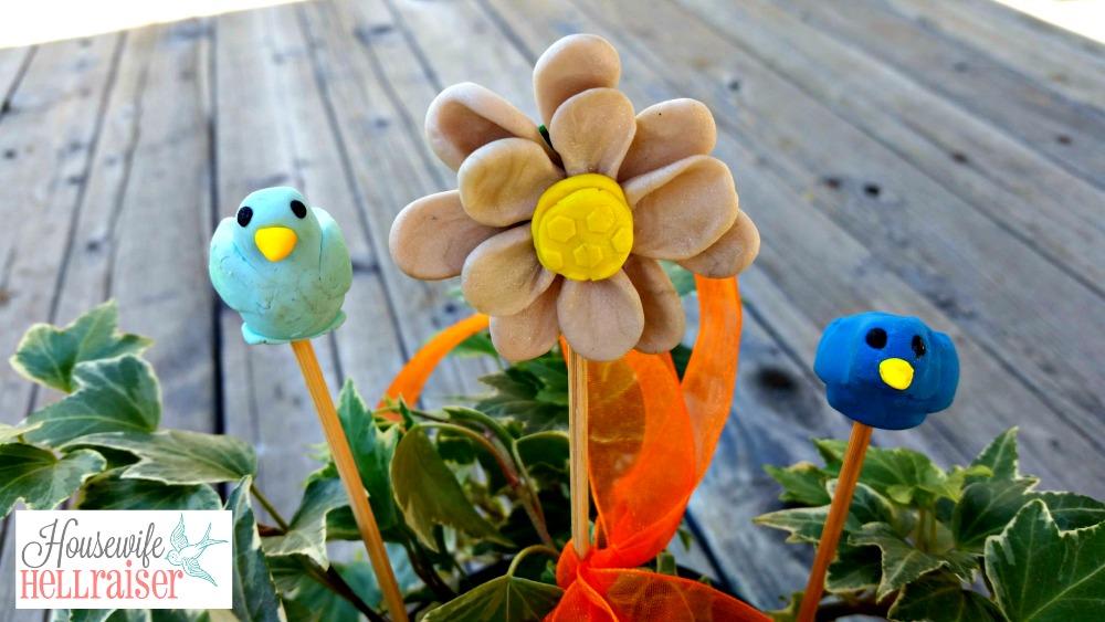 sculpey bird plant stakes
