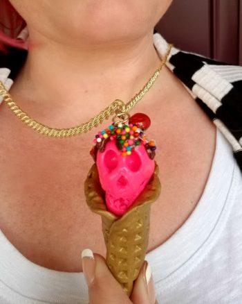 Skull Ice Cream Cone Polymer Clay Necklace